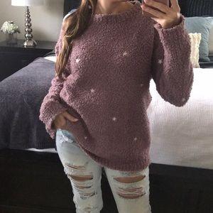 Mauve Stars Berber pullover sweater